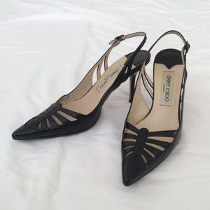 Jimmy Choo black leather Eddy slingbacks